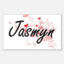 Jasmyn Artistic Name Design with Hearts Decal