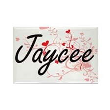 Jaycee Artistic Name Design with Hearts Magnets
