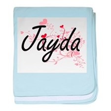 Jayda Artistic Name Design with Heart baby blanket