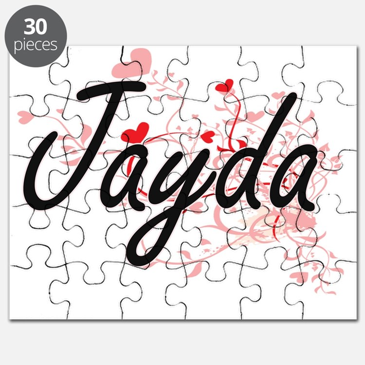 Jayda Artistic Name Design with Hearts Puzzle