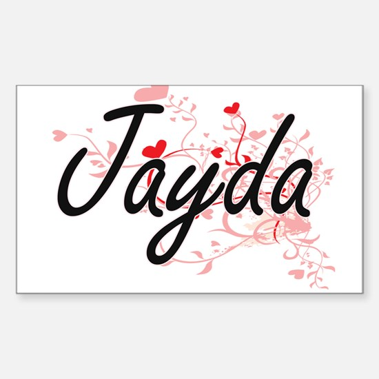 Jayda Artistic Name Design with Hearts Decal