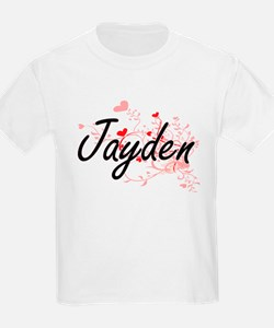 Jayden Artistic Name Design with Hearts T-Shirt