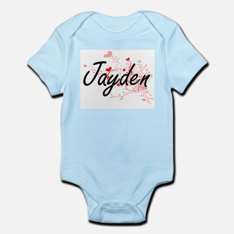Jayden Artistic Name Design with Hearts Body Suit