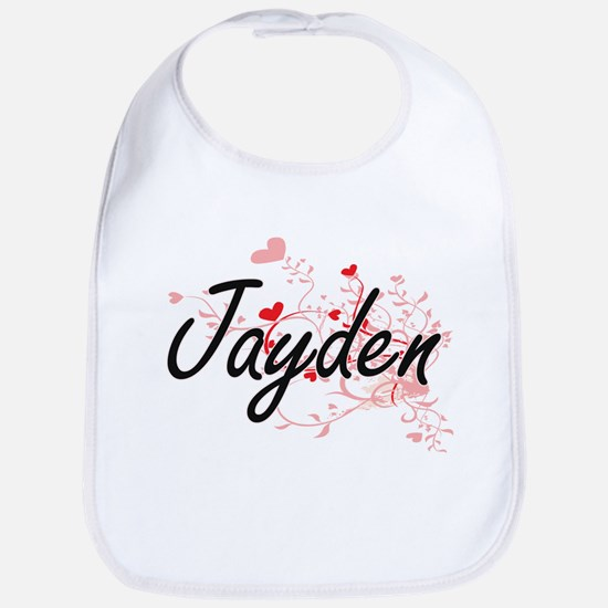 Jayden Artistic Name Design with Hearts Bib