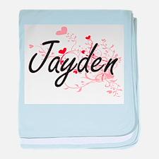 Jayden Artistic Name Design with Hear baby blanket