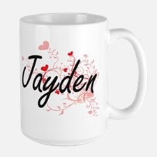 Jayden Artistic Name Design with Hearts Mugs