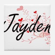 Jayden Artistic Name Design with Hear Tile Coaster