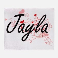 Jayla Artistic Name Design with Hear Throw Blanket