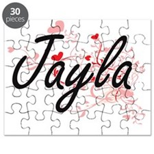 Jayla Artistic Name Design with Hearts Puzzle