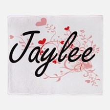 Jaylee Artistic Name Design with Hea Throw Blanket