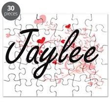 Jaylee Artistic Name Design with Hearts Puzzle