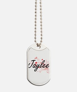 Jaylee Artistic Name Design with Hearts Dog Tags