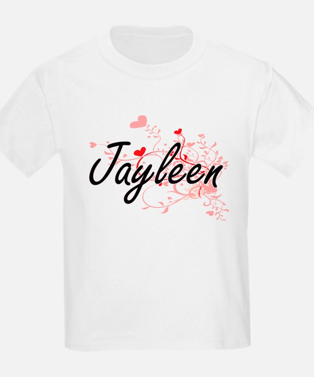 Jayleen Artistic Name Design with Hearts T-Shirt