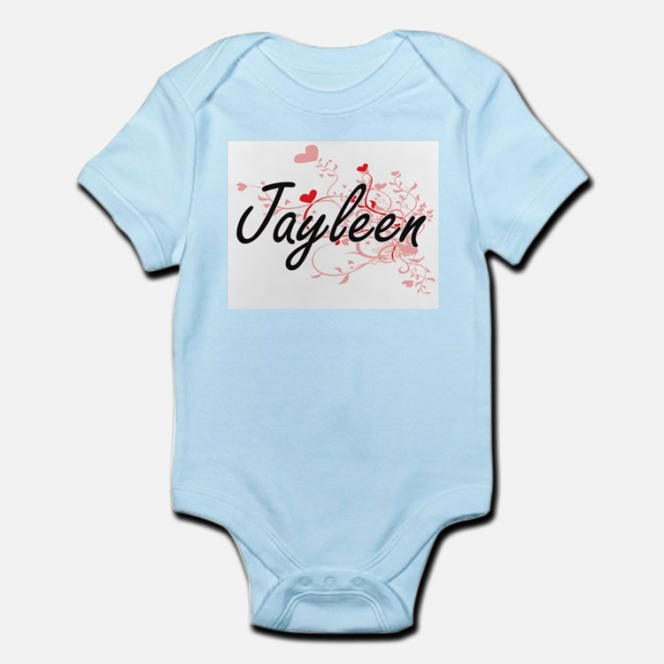 Jayleen Artistic Name Design with Hearts Body Suit