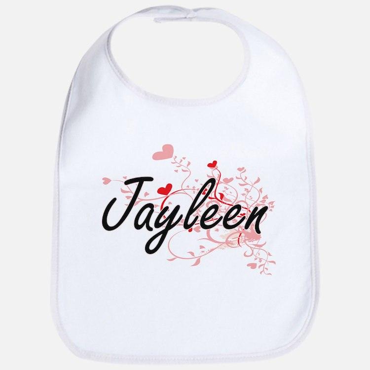 Jayleen Artistic Name Design with Hearts Bib