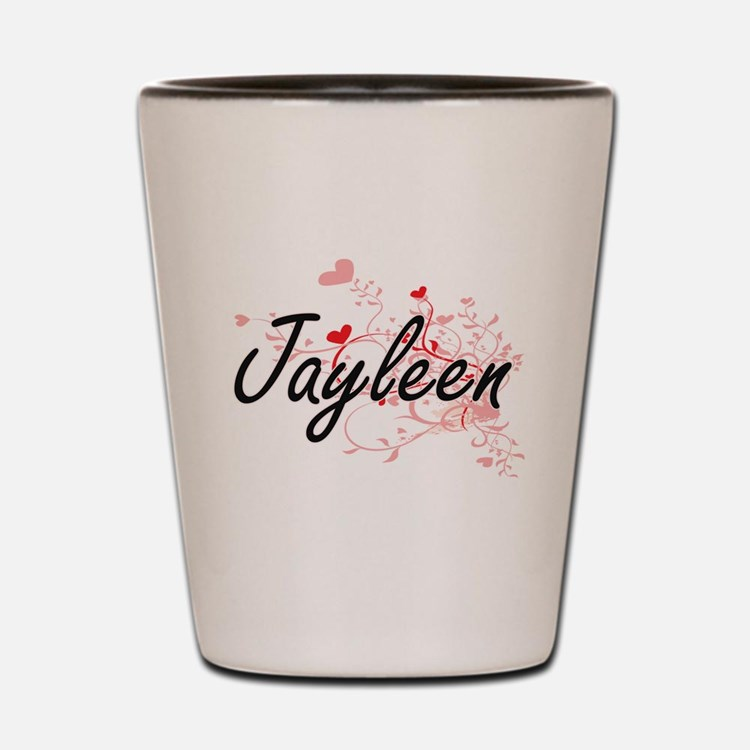 Jayleen Artistic Name Design with Heart Shot Glass