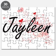Jayleen Artistic Name Design with Hearts Puzzle