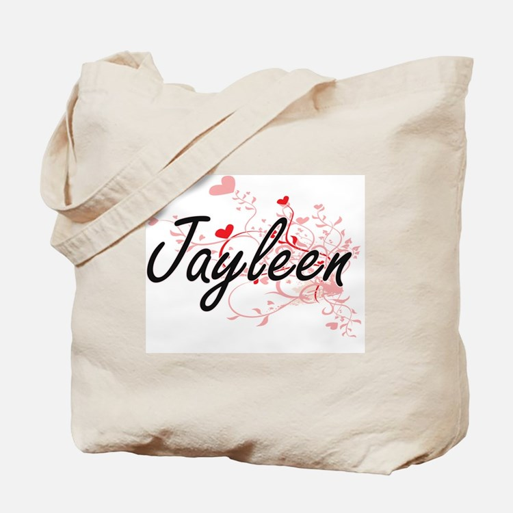 Jayleen Artistic Name Design with Hearts Tote Bag