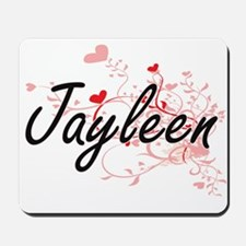 Jayleen Artistic Name Design with Hearts Mousepad