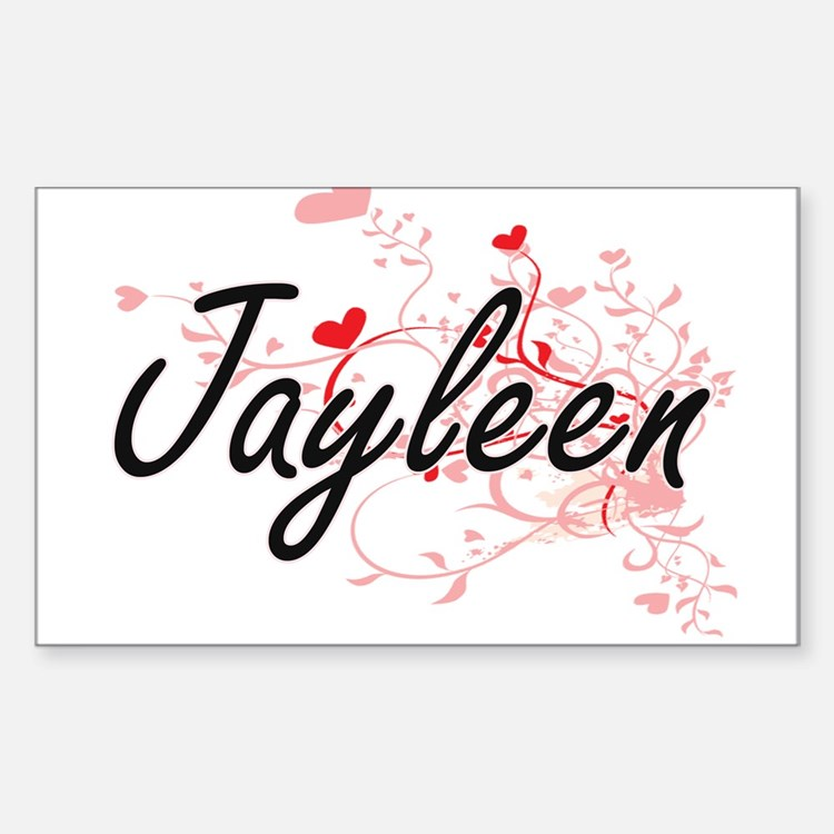 Jayleen Artistic Name Design with Hearts Decal