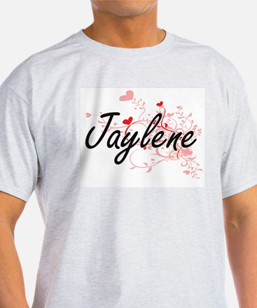 Jaylene Artistic Name Design with Hearts T-Shirt