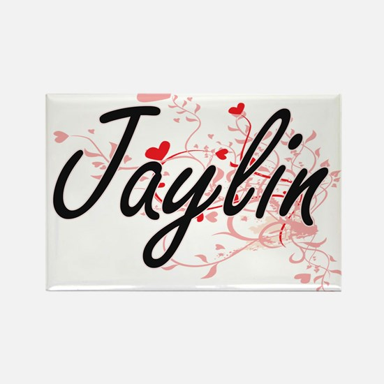 Jaylin Artistic Name Design with Hearts Magnets