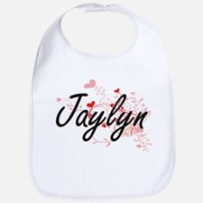 Jaylyn Artistic Name Design with Hearts Bib