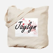 Jaylyn Artistic Name Design with Hearts Tote Bag
