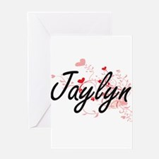 Jaylyn Artistic Name Design with He Greeting Cards