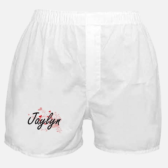 Jaylyn Artistic Name Design with Hear Boxer Shorts