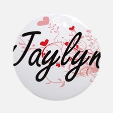 Jaylyn Artistic Name Design with Ornament (Round)