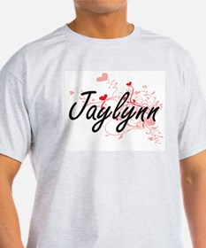 Jaylynn Artistic Name Design with Hearts T-Shirt
