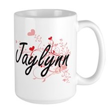Jaylynn Artistic Name Design with Hearts Mugs
