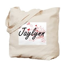 Jaylynn Artistic Name Design with Hearts Tote Bag