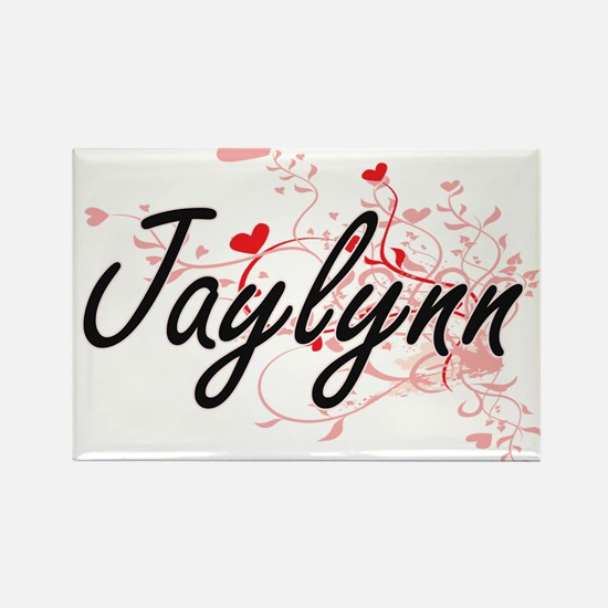 Jaylynn Artistic Name Design with Hearts Magnets