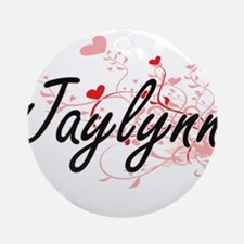 Jaylynn Artistic Name Design with Ornament (Round)