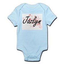 Jazlyn Artistic Name Design with Hearts Body Suit
