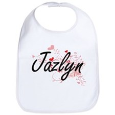 Jazlyn Artistic Name Design with Hearts Bib