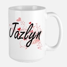 Jazlyn Artistic Name Design with Hearts Mugs