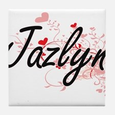 Jazlyn Artistic Name Design with Hear Tile Coaster