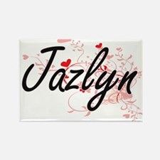 Jazlyn Artistic Name Design with Hearts Magnets