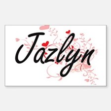 Jazlyn Artistic Name Design with Hearts Decal