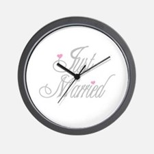 Classy Grays Just Married Wall Clock