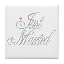 Classy Grays Just Married Tile Coaster