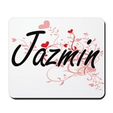 Jazmin Artistic Name Design with Hearts Mousepad