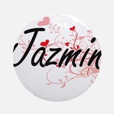 Jazmin Artistic Name Design with Ornament (Round)