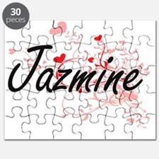 Jazmine Artistic Name Design with Hearts Puzzle