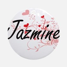 Jazmine Artistic Name Design with Ornament (Round)