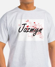 Jazmyn Artistic Name Design with Hearts T-Shirt