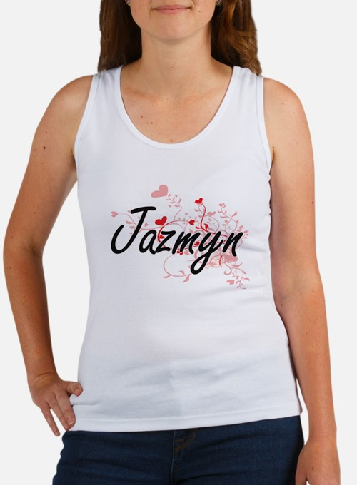 Jazmyn Artistic Name Design with Hearts Tank Top